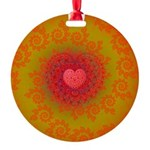 Red and Orange Valentines Heart Fractal Round Orna