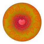 Red and Orange Valentines Heart Fractal Round Car