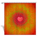 Red and Orange Valentines Heart Fractal Shower Cur