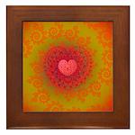 Red and Orange Valentines Heart Fractal Framed Til