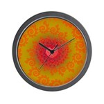 Red and Orange Valentines Heart Fractal Wall Clock