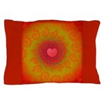 Red and Orange Valentines Heart Fractal Pillow Cas
