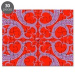 Red and Blue Valentines Fractal Art Puzzle