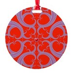 Red and Blue Valentines Fractal Art Round Ornament