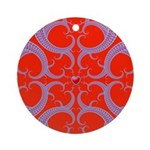 Red and Blue Valentines Fractal Art Ornament (Roun