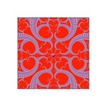 Red and Blue Valentines Fractal Art Square Sticker