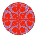 Red and Blue Valentines Fractal Art Round Car Magn