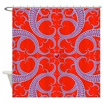 Red and Blue Valentines Fractal Art Shower Curtain