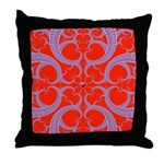 Red and Blue Valentines Fractal Art Throw Pillow