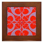 Red and Blue Valentines Fractal Art Framed Tile