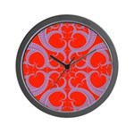 Red and Blue Valentines Fractal Art Wall Clock