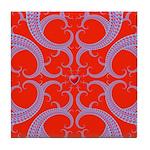 Red and Blue Valentines Fractal Art Tile Coaster