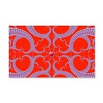Red and Blue Valentines Fractal Art 20x12 Wall Dec