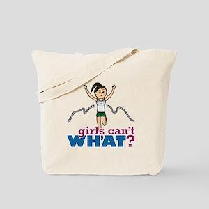 Girl Running in Green Tote Bag