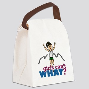 Girl Running in Green Canvas Lunch Bag