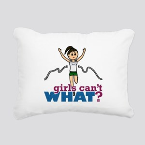 Girl Running in Green Rectangular Canvas Pillow