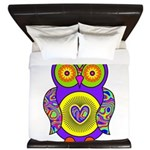 Purple Psychedelic Owl King Duvet