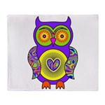 Purple Psychedelic Owl Throw Blanket