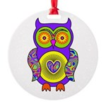 Purple Psychedelic Owl Round Ornament