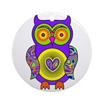 Purple Psychedelic Owl Ornament (Round)