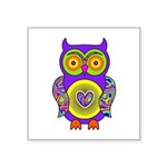 Purple Psychedelic Owl Square Sticker 3