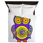 Purple Psychedelic Owl Queen Duvet
