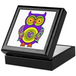 Purple Psychedelic Owl Keepsake Box
