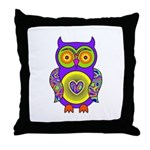 Purple Psychedelic Owl Throw Pillow
