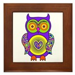 Purple Psychedelic Owl Framed Tile