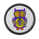 Purple Psychedelic Owl Large Wall Clock