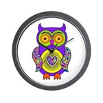 Purple Psychedelic Owl Wall Clock
