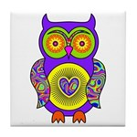 Purple Psychedelic Owl Tile Coaster