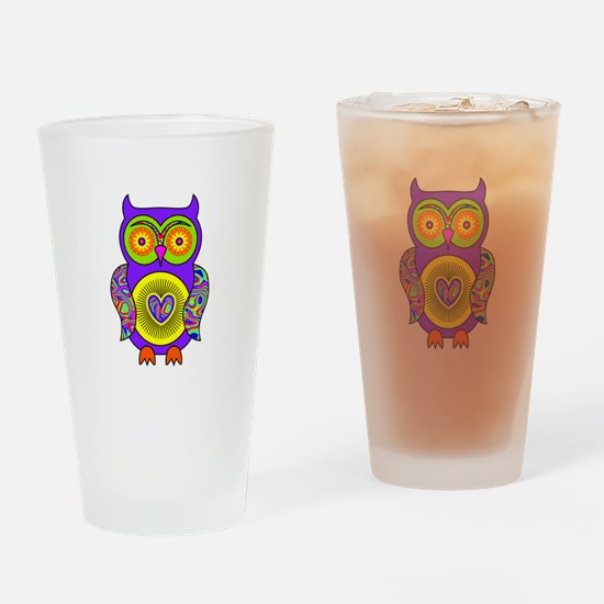 Purple Psychedelic Owl Drinking Glass