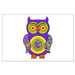 Purple Psychedelic Owl Large Poster