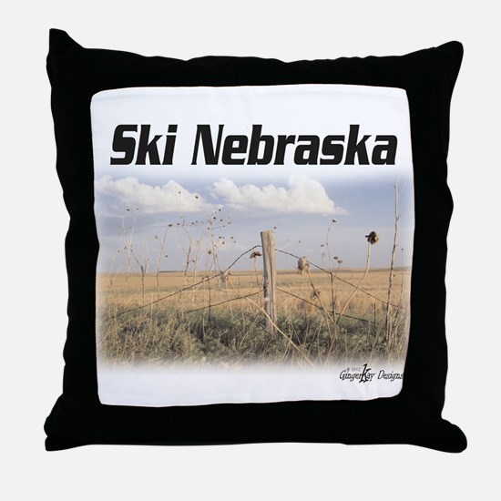 Ski Nebraska Throw Pillow