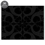 Black Goth Valentines Fractal Heart Puzzle