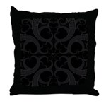 Black Goth Valentines Fractal Heart Throw Pillow
