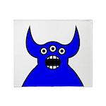Kawaii Blue Alien Monster Throw Blanket