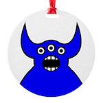 Kawaii Blue Alien Monster Round Ornament