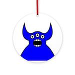 Kawaii Blue Alien Monster Ornament (Round)