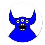 Kawaii Blue Alien Monster Round Car Magnet
