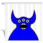 Kawaii Blue Alien Monster Shower Curtain
