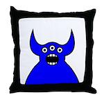 Kawaii Blue Alien Monster Throw Pillow