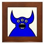 Kawaii Blue Alien Monster Framed Tile