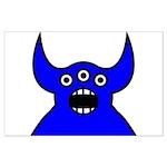 Kawaii Blue Alien Monster Large Poster