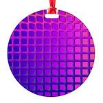 Purple Retro Squares Pattern Round Ornament