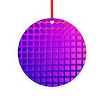 Purple Retro Squares Pattern Ornament (Round)