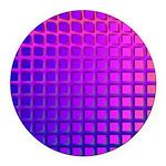 Purple Retro Squares Pattern Round Car Magnet