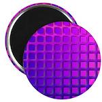 Purple Retro Squares Pattern Magnet