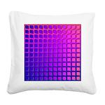 Purple Retro Squares Pattern Square Canvas Pillow